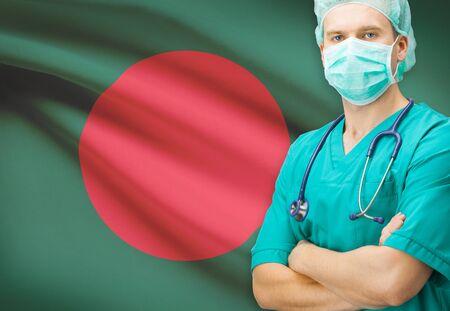 national flag bangladesh: Surgeon with national flag on background - Bangladesh Stock Photo