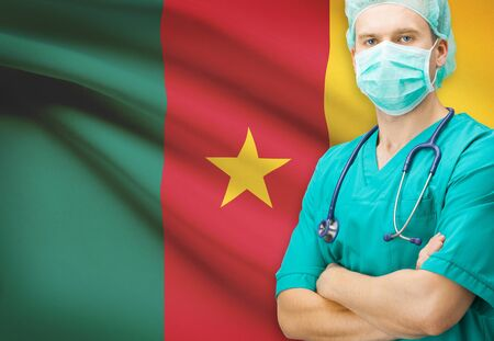 cameroonian: Surgeon with national flag on background - Cameroon