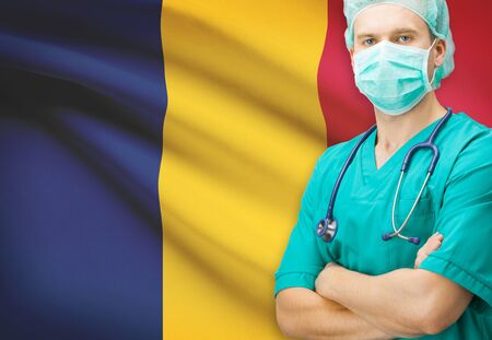 chadian: Surgeon with national flag on background - Chad