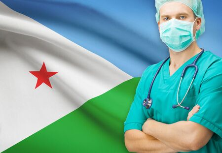 djibouti: Surgeon with national flag on background - Djibouti Stock Photo