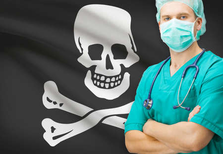 jolly roger: Surgeon with flag on background - Jolly Roger Stock Photo