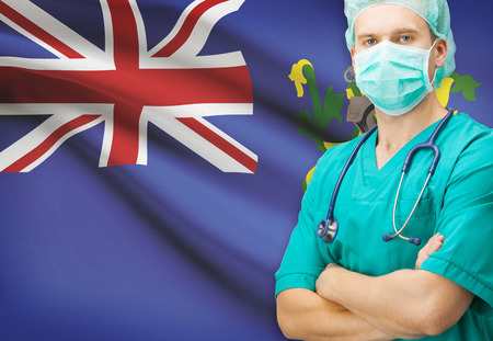 pitcairn: Surgeon with national flag on background - Pitcairn Island Stock Photo