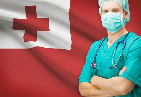tonga: Surgeon with national flag on background - Tonga