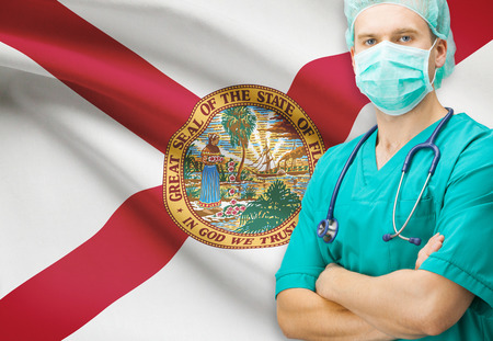 floridian: Surgeon with US state flag on background - Florida