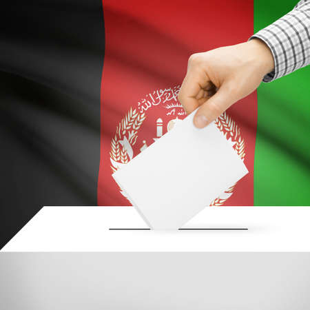 electoral system: Ballot box with flag on background series - Afghanistan