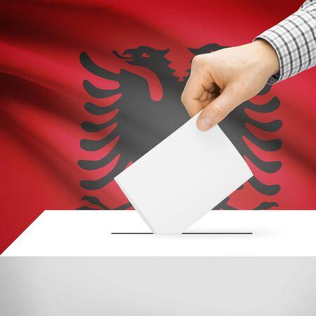 Ballot box with flag on background series - Albania photo