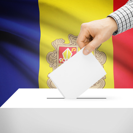electoral system: Ballot box with national flag on background series - Andorra