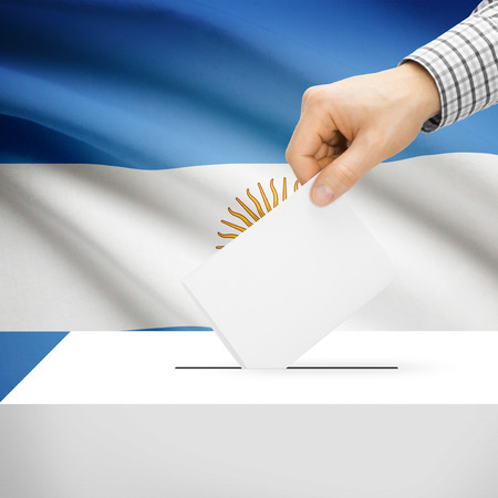 Ballot box with national flag on background series - Argentina photo