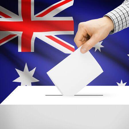 plebiscite: Ballot box with national flag on background series - Australia Stock Photo