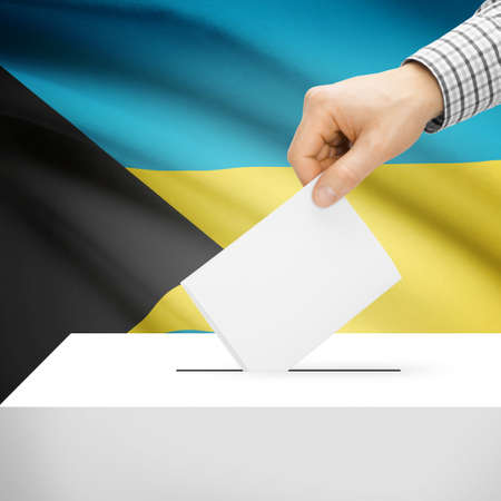 electoral system: Ballot box with national flag on background series - Bahamas
