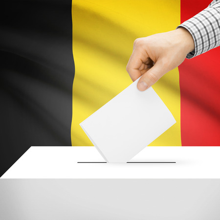 electoral system: Ballot box with national flag on background series - Belgium