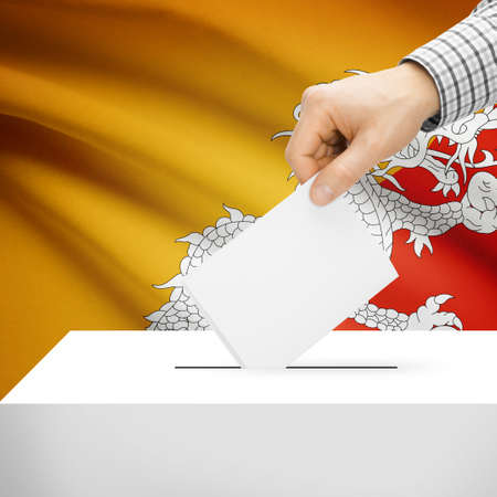 local election: Ballot box with national flag on background series - Bhutan