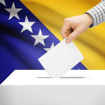 Ballot box with national flag on background series - Bosnia and Herzegovina photo