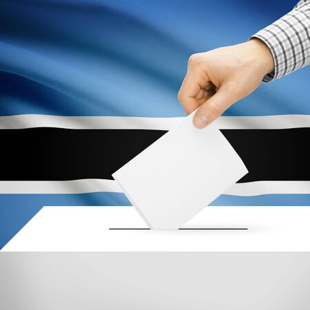 electoral system: Ballot box with national flag on background series - Botswana Stock Photo