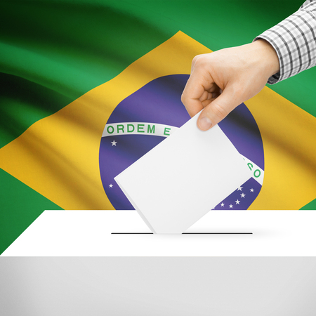 polling booth: Ballot box with national flag on background series - Brazil