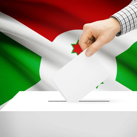 electoral system: Ballot box with national flag on background series - Burundi Stock Photo