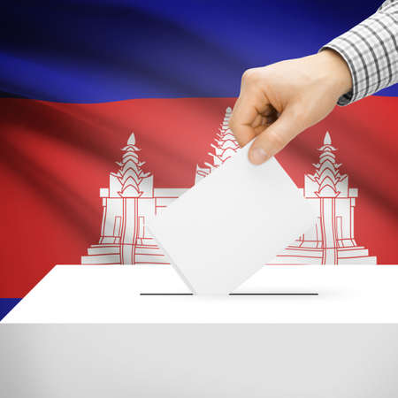 polling booth: Ballot box with national flag on background series - Cambodia