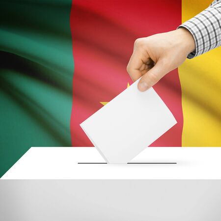 Ballot box with national flag on background series - Cameroon photo