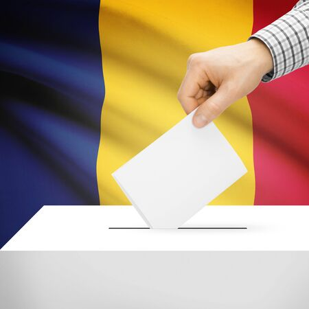 chadian: Ballot box with national flag on background series - Chad Stock Photo