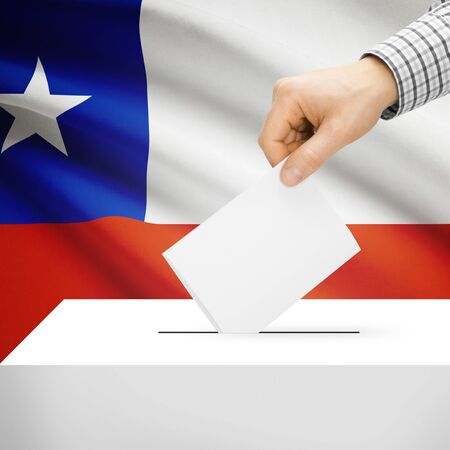 Ballot box with national flag on background series - Chile photo