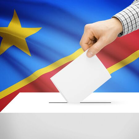 electoral system: Ballot box with national flag on background series - Democratic Republic of the Congo Stock Photo
