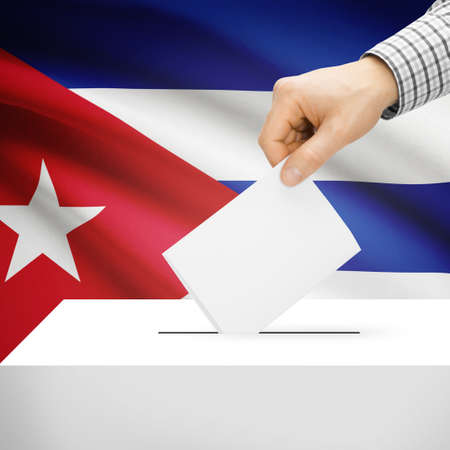 Ballot box with national flag on background series - Cuba photo