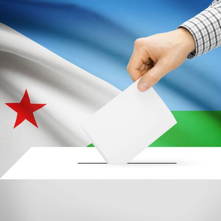 local election: Ballot box with national flag on background series - Djibouti
