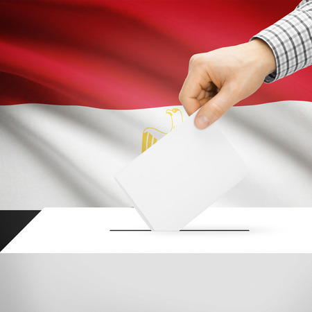 polling booth: Ballot box with national flag on background series - Egypt