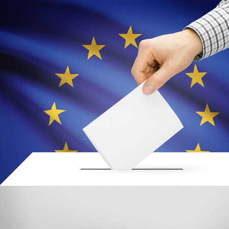 electoral system: Ballot box with national flag on background series - European Union