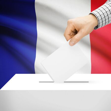 electoral system: Ballot box with national flag on background series - France Stock Photo