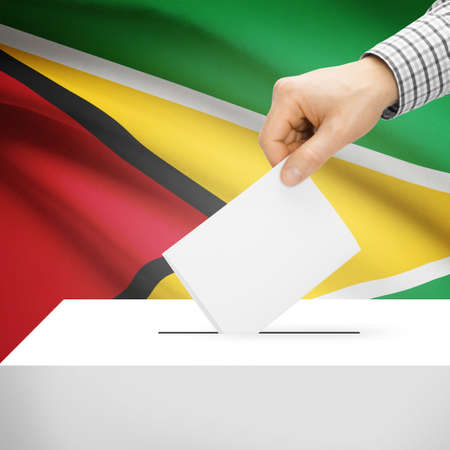 electoral system: Ballot box with national flag on background series - Guyana