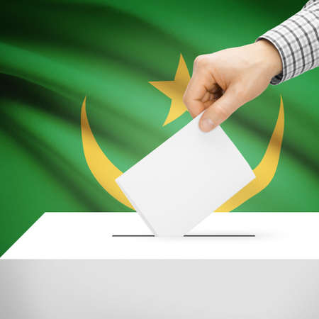 Ballot box with national flag on background series - Mauritania photo