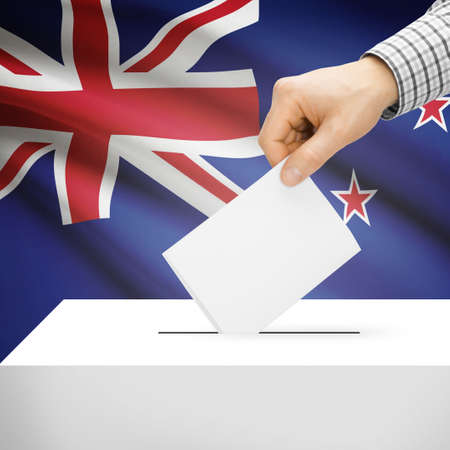 polling booth: Ballot box with national flag on background series - New Zealand