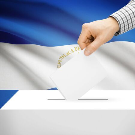 local election: Ballot box with national flag on background series - Nicaragua