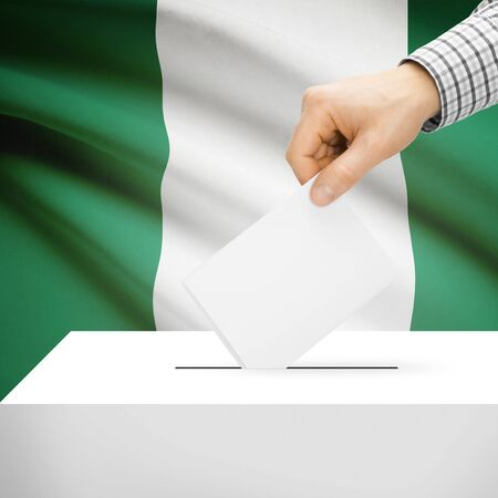 polling booth: Ballot box with national flag on background series - Nigeria