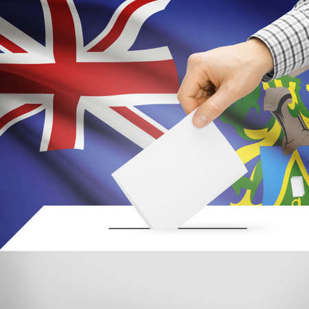electoral system: Ballot box with national flag on background series - Pitcairn Island Stock Photo