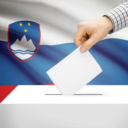 Ballot box with national flag on background series - Slovenia Stock Photo