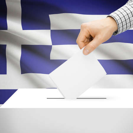 Ballot box with national flag on background series - Greece photo