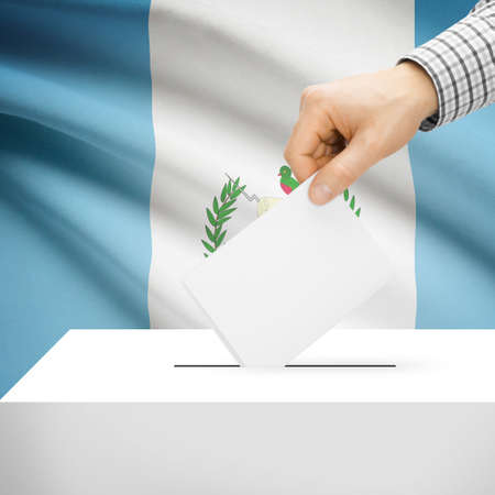 polling booth: Ballot box with national flag on background series - Guatemala