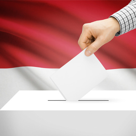 indonesia people: Ballot box with national flag on background series - Indonesia
