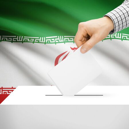 Ballot box with national flag on background series - Iran photo