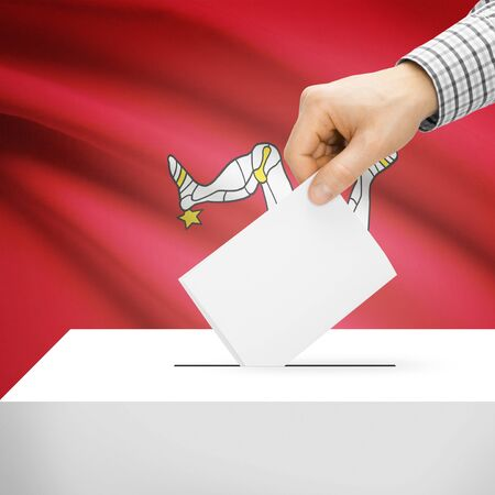 electoral system: Ballot box with national flag on background series - Isle of Man