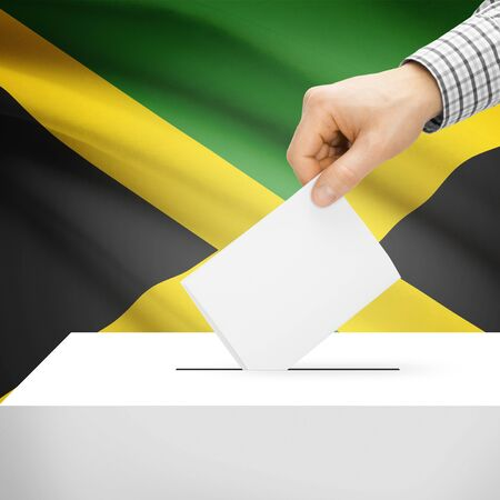 polling booth: Ballot box with national flag on background series - Jamaica Stock Photo
