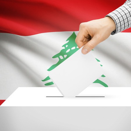 electoral system: Ballot box with national flag on background series - Lebanon