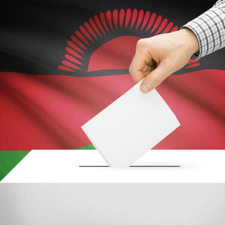 malawian flag: Ballot box with national flag on background series - Malawi