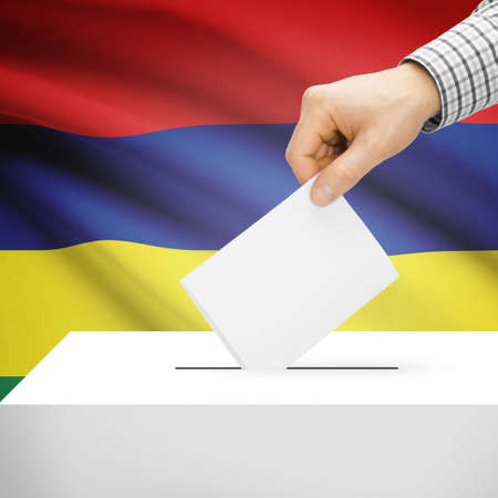 Ballot box with national flag on background series - Mauritius photo