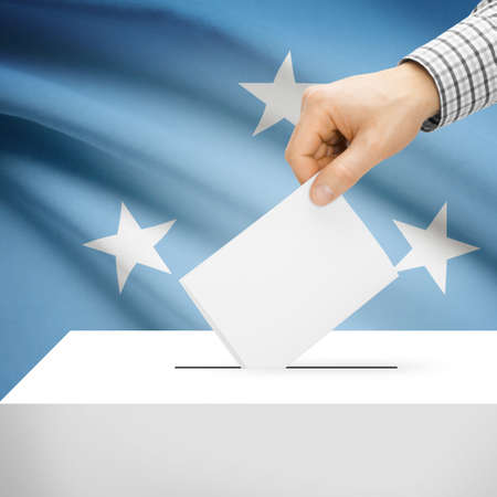 federated: Ballot box with national flag on background series - Federated States of Micronesia