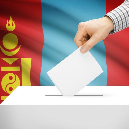 electoral system: Ballot box with national flag on background series- Mongolia Stock Photo
