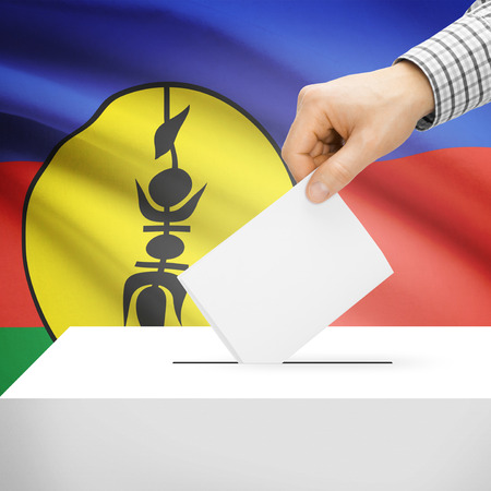electoral system: Ballot box with national flag on background series - New Caledonia