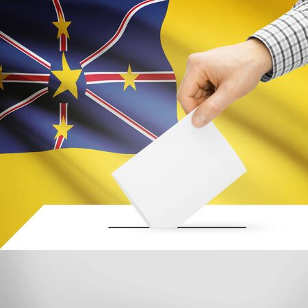 niue: Ballot box with national flag on background series - Niue